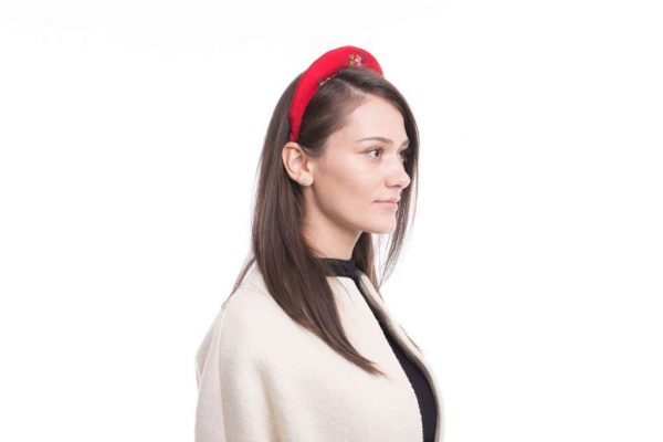 Headband, red and pink