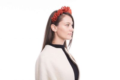 Burnt red ruffled organza Headband